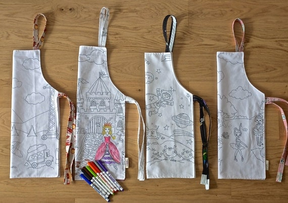 Children's apron with Princess/Space/Ballerinas/Construction/Toddler Reversible Apron Color Me Activity/Eco-Friendly Washable