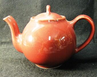 Porcelain Burgandy Teapot