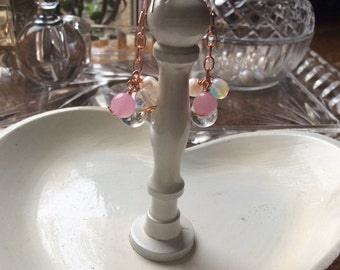 Rose gold plated 925 silver cluster earrings, pearl, clear quartz, chain