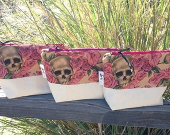 Roses and Skulls Large, Upcycled Cosmetic Pouch