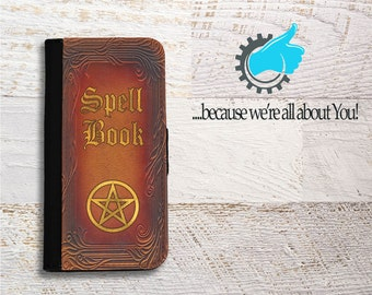 Spell Book Samsung Wallet Phone Case for Samsung Galaxy S5 S6 S7 S8 Edge Neo and Plus Can be Customized with Your Name Quote or Own Spell!