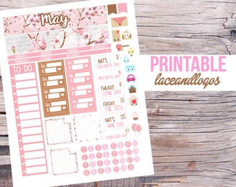 Printable Planner Stickers May Monthly Kit  Month Spread View Cherry Blossom Flower Floral Pink Brown  Bill Holiday GoalsFor Erin Condren