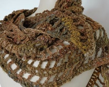 Handspun wool shawl in forest colours, crochet shawl, muted green, lace shawl, variegated green, woollen wrap - ready to ship