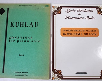 Lot 2 Piano Sheet Music Books Kuhlau Sonatinas for Piano Solo Book 1 & Lyric Preludes in Romantic Style