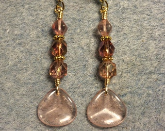 Translucent rosaline Czech glass rose petal dangle earrings adorned with rosaline Czech glass beads.