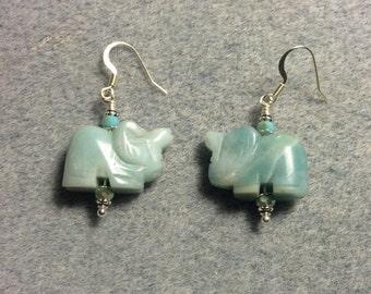 Turquoise amazonite gemstone elephant bead earrings adorned with turquoise Chinese crystal beads.