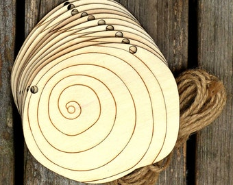 10x Wooden Sea Shell Sundial Craft Shapes 3mm Plywood