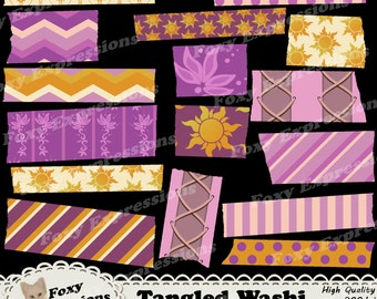 Tangled Digital Washi Tape pack inspired by Disney comes in dress patterns, lantern patterns, and the kingdoms suns. In pink,purple & yellow