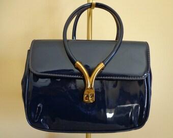 Vintage Navy Blue Patent Handbag.