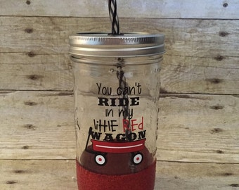 Little Red Wagon Glitter Mason Jar Tumbler 24 oz - Ready to Ship