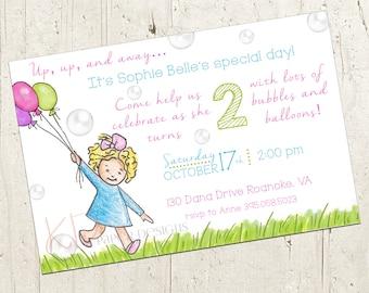 Birthday Invitation - Bubbles & Balloons