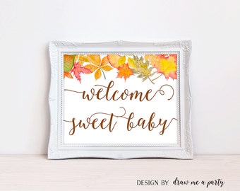 Autumn Baby Shower Decor, Welcome Sweet Baby Sign, Fall Baby Shower Decoration, Welcome Baby Shower, Fall Baby Shower Sign , Printable , DIY