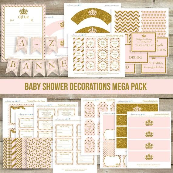 pink and gold baby shower decorations printable by