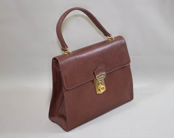leather kelly style handbag / Coccinelle made in Italy bag / Brown genuine leather handbag handle 80s