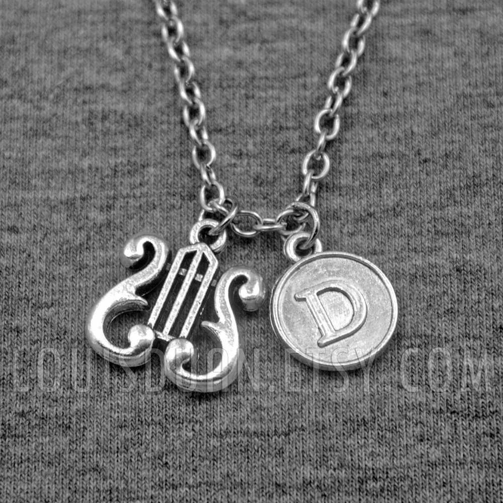 Harmonica Necklace: Greek Harp Necklace Lyre Necklace Musical Necklace Initial