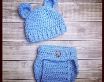 Baby Bear Hat and Diaper Cover Set ~ Photo Prop ~ Gift ~ Newborn ~ Baby Boy Outfit ~ Pictures ~