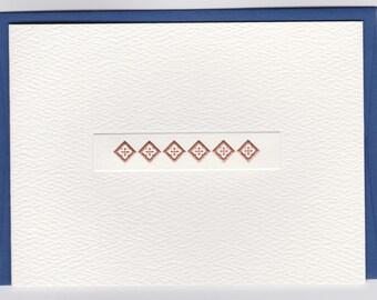 Foldover Note: Copper Diamonds & Florets