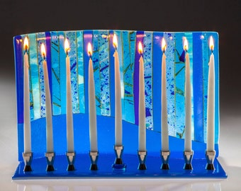 Blue Forest Menorah, art glass Menorah, handmade, art glass, Judaica, Hanukah, Jewish holidays