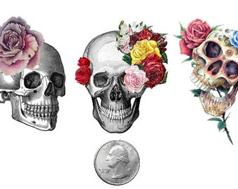 Temporary Tattoo -  Halloween Candy Skulls Set
