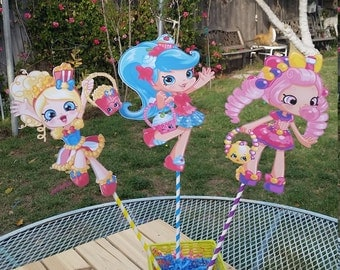 Shopkins Centerpiece 8.5 inch, Popette,JessiCake,Bubbleisha, Shopkins birthday party,shopkin shoppies