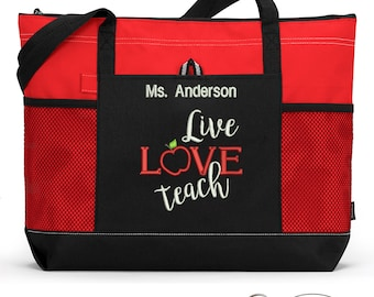 Teacher Appreciation Gift, Live Love Teach Embroidered Zippered Tote Bag With Mesh Pockets, Beach Bag, Boating