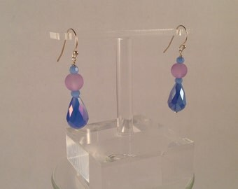 dangle pink and blue crystal and glass earrings.