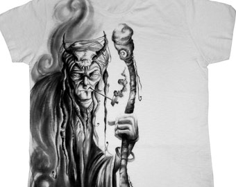 The Shaman - Hand painted unique t-shirt!