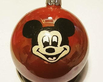 Hand painted Mickey Mouse christmas bauble decoration.