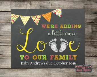We're Adding A Little More Love To Our Family - Printable JPEG File / Chalkboard Photo Prop / Card Social Media Baby Pregnancy Announcement
