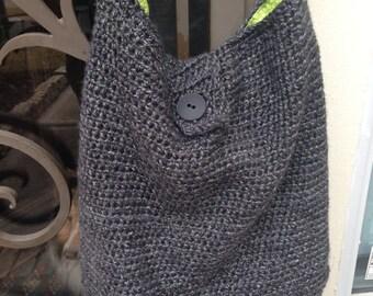 XLarge crochet hobo bag, crochet bag, handbag, slouch handbag, crochet hobo bag, tweed gray bag, tote bag, lined handbag, crochet, purse