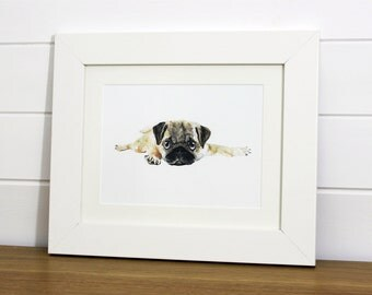 Watercolour Pug Pup Fine Art PRINT