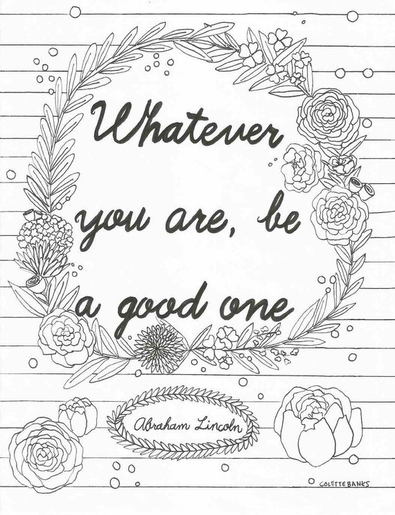 Quotes On Colouring Competition : Quote Adult Printable Coloring Page featuring a by EssenceofInk