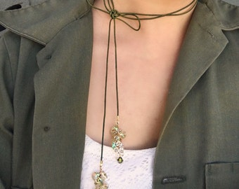 Olive Leather Cord Necklace with Swarovski