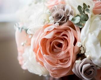 Custom Handmade Paper and Fabric Wedding Bouquets