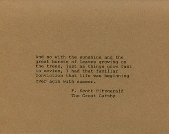 F. Scott Fitzgerald Quote Made on Typewriter The Great Gatsby Art Quote Wall Art -And so with the sunshine and the great bursts of leaves...