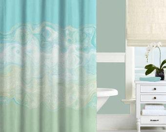 Mint Green Shower Curtain, Aqua Blue Shower Curtain, Bath Curtain, Bathroom Decor, 71x74, Modern Bathroom, Abstract Shower Curtain