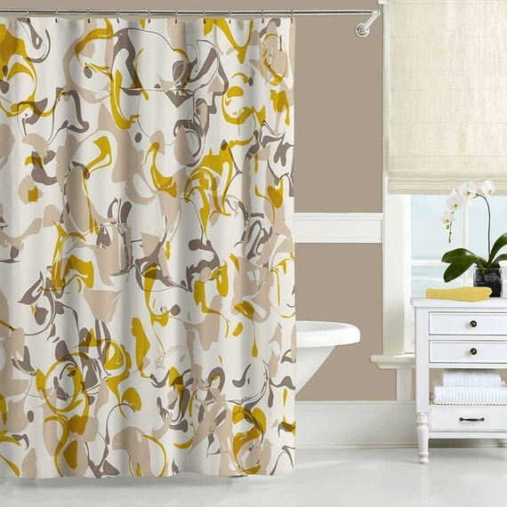 Yellow Brown Shower Curtain Mustard Yellow Beige Abstract
