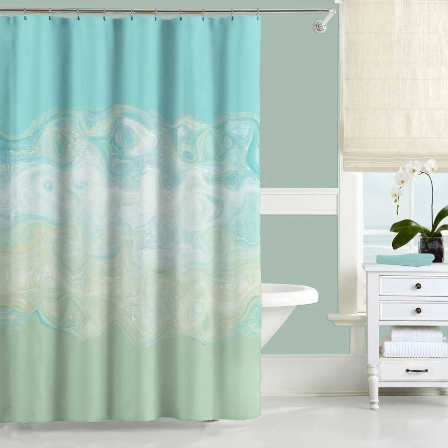 Mint green shower curtain and rugs - Mint Shower Curtain Aqua Shower Curtain Long Shower Curtain Blue Bath Curtain Aqua Bathroom Decor 70x70 70x90 Modern Bathroom Curtain