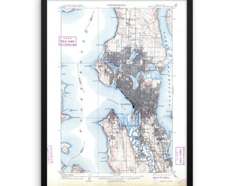 Vintage Map of Seattle Washington | Seattle Washington Map | Seattle Washington | Vintage Seattle | Seattle Wall Map | Washington Map