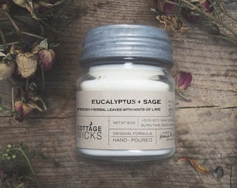 Eucalyptus + Sage Scented Soy Candles Artisanal Small Batch Hand Poured Made in New England Soy Candle