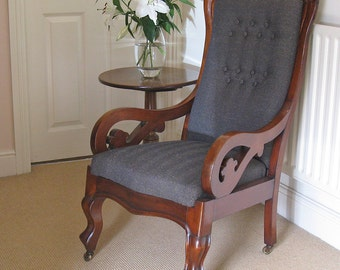 Victorian Mahogany Re-Upholstered Show-Frame Armchair