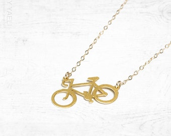 Bicycle necklace, statement necklace, long necklace, gold bicycle pendant, unique necklace, gift under 50, everyday necklace, 14K gold.