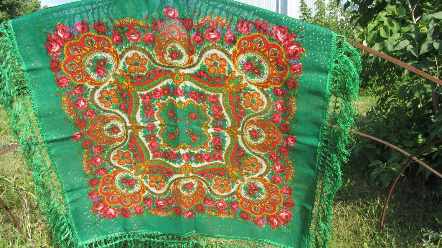 Asian small Green Vintage Shawl With Fringes, Asian Floral Green Scarf, Asian st
