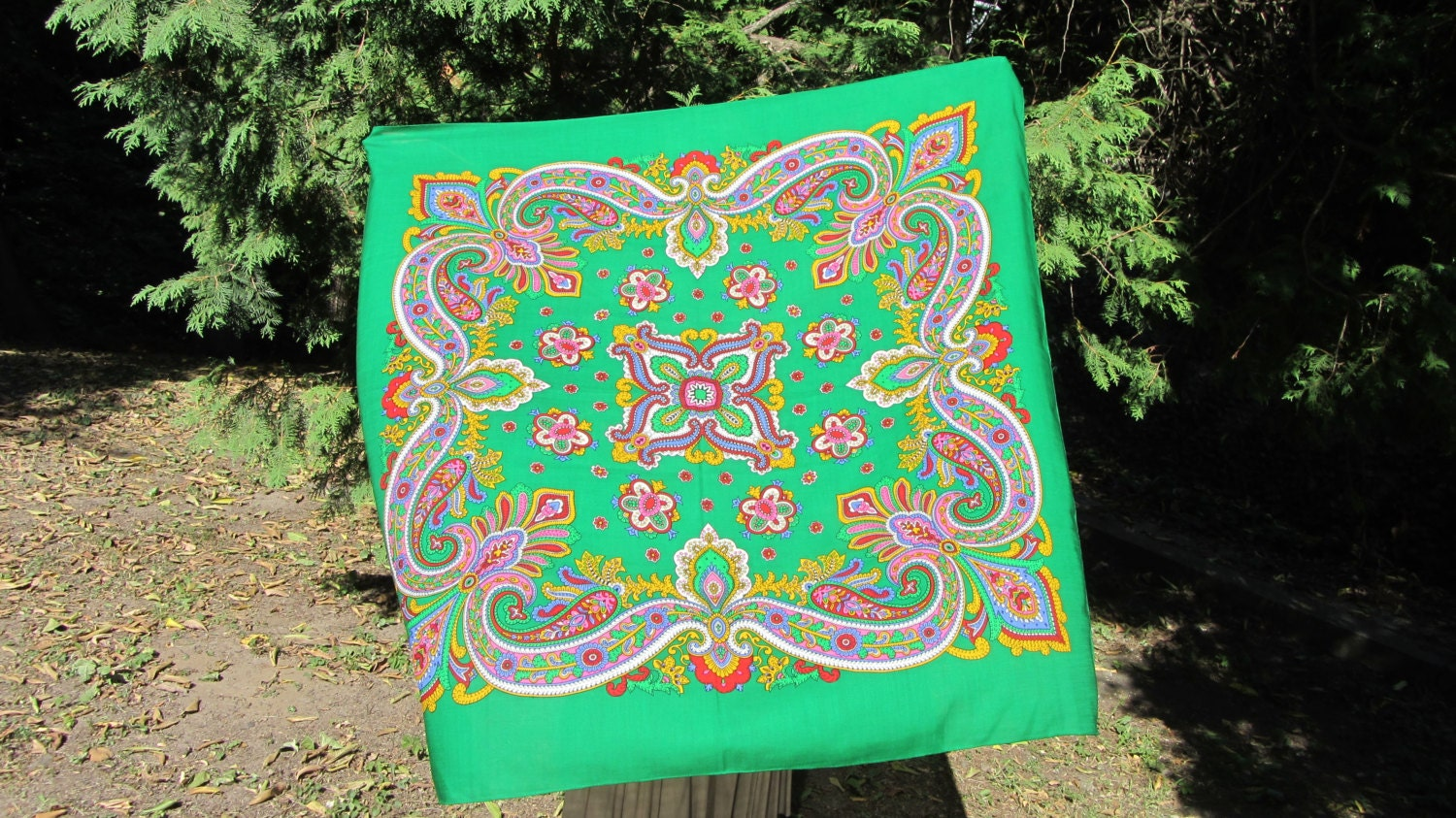 Asian Wool Green Vintage Shawl, Asian Floral Green Scarf, Japanesen style shawl,