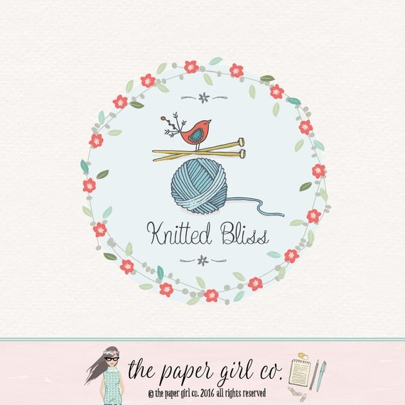 knitting logo design craft shop logo boutique logo baby logo