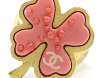 Chanel Pink Clover Ring Size 6.5 Vintage