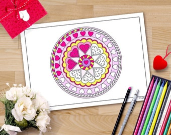 valentine coloring pages, Valentines mandala, hearts mandala coloring page for adults, lesbian valentine gift