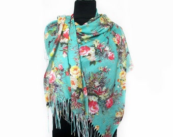 Boho Scarf, Turquoise Floral Pashmina Scarf, Wrap Shawl, Grandma Gift, Boho Wrap Skirt, Fashion Scarves, Large Shawl, Mother Day Gift
