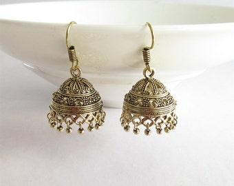 Dark Gold Antique jhumka/Indian jhumka/ jhumka earrings/Statement drop jhumkas/Jaipur jhumkas/Gold Antique  jhumka earrings/Tribal Jhumka