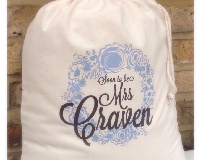 Personalised gift bag, Tote bag, Brides keepsake bag, wording of your choice. Wedding something new and blue